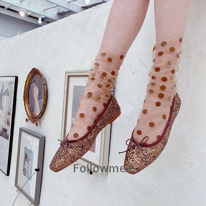 2019 Fashion novelty thin embroidered pearl fishnet shot socks