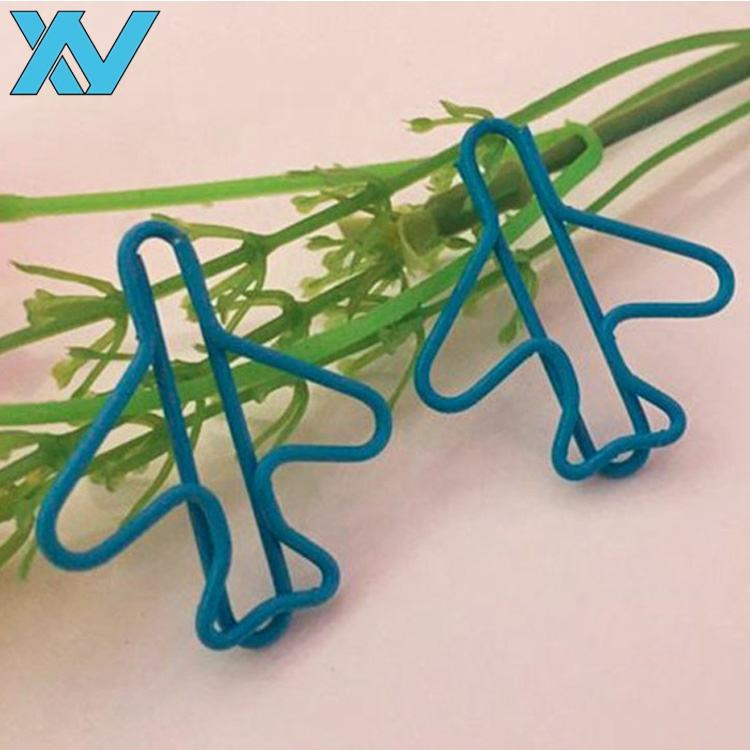 Office stationery Plastic coated metal wire plane shape paper clip gift airplane shape metal clips