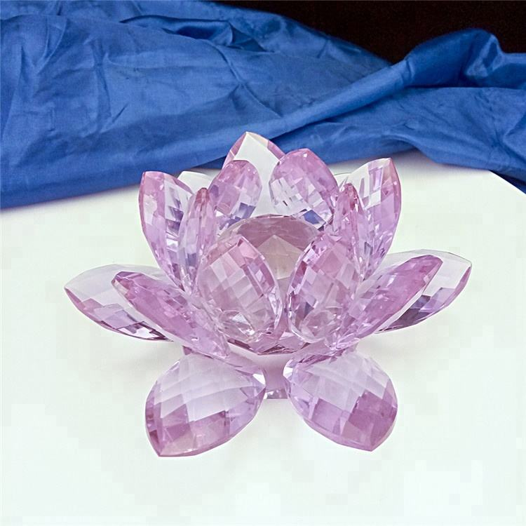 Wedding Anniversary Crystal Lotus Glass Lotus For Paperweight And Car Perfume Decoration