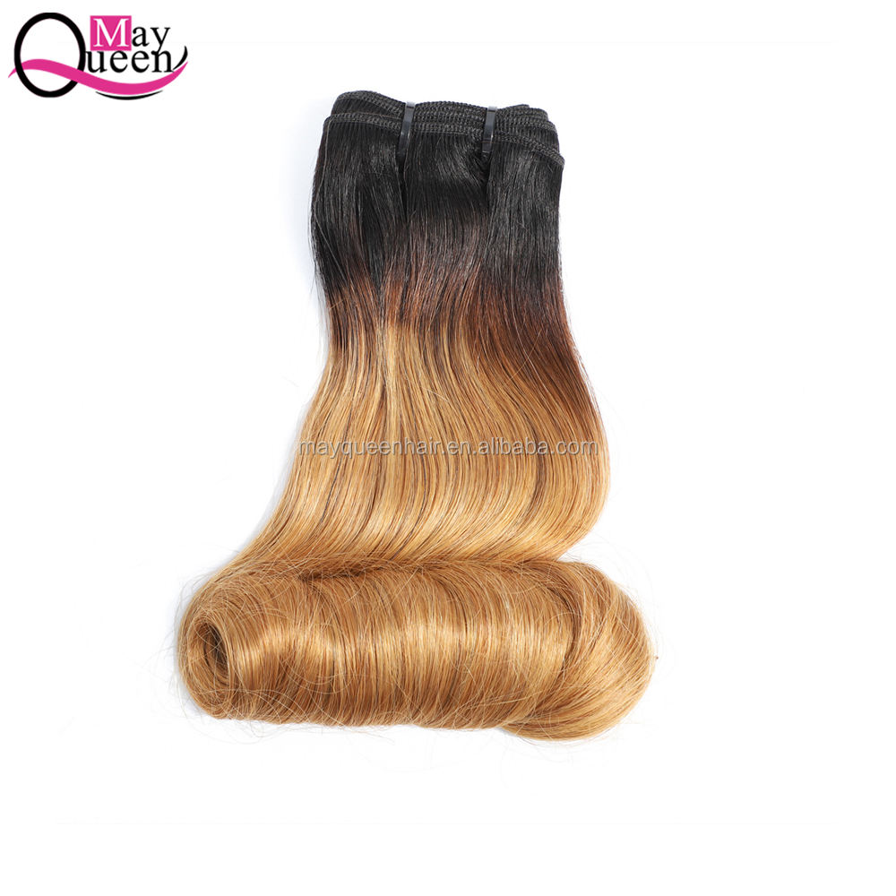 Virgin Double Drawn อินเดีย 1B/30 ไข่ Curl Fumi ผม Weft 100% Raw Virgin Hair