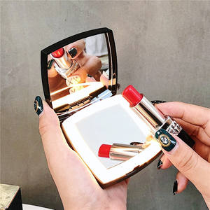 Cosmetic beauty travel compact pocket mirror with led light
