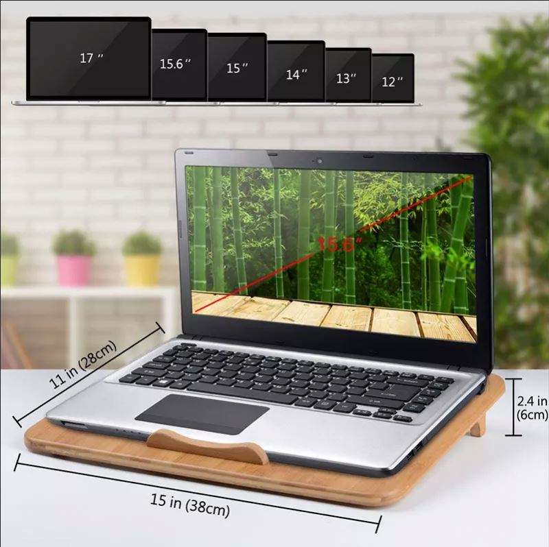 Jiangqiao Bamboo factory direct sale natural bamboo USB computers notebook cooling stand pads for laptop