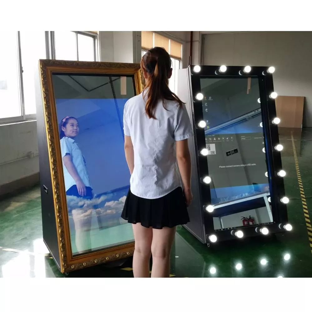 19.5 inch ronde smart spiegel touch led display magische spiegel photo booth selfie transparante spiegel met camera led licht cirkel