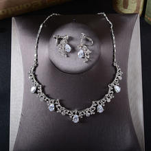Shipping Elegant Fashion Wedding Crystal Zircon Bridal Jewelry  Necklace and Earring Set