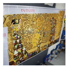 JS MHP-KL07 Famous Klimt Painting Tree of Life Handmade Tiles Glass Mosaic Art Wall Tiles Mural for Hotel