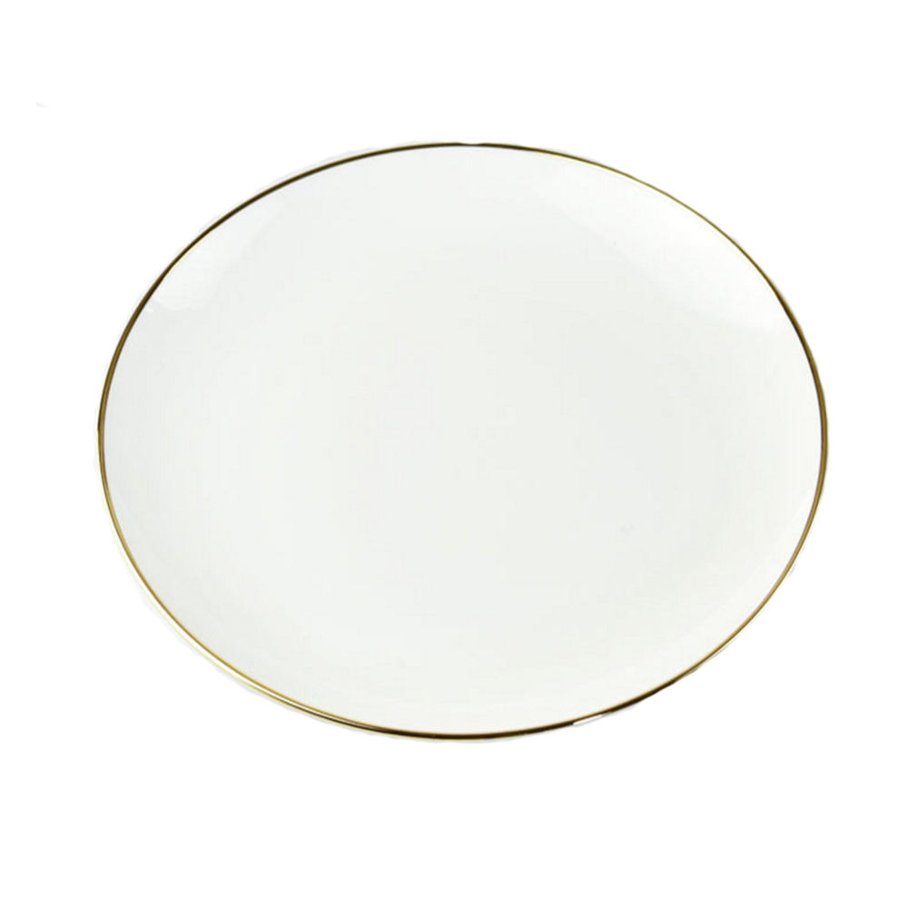 WA01012 12 Inch Decoration Printing Logo Name Stone Ceramic Dinner Printing Porcelain Food Charger Plate Wedding Sets Gold Rim