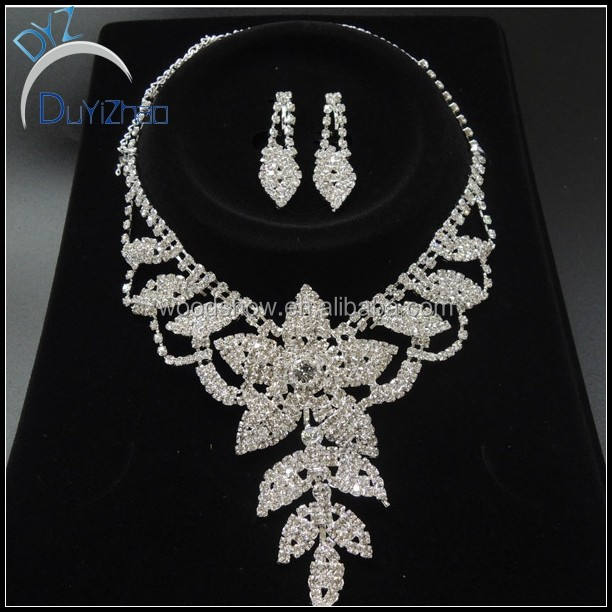 Large leaf bridal jewelry sets rhinestone wholesale wedding jewelry sets
