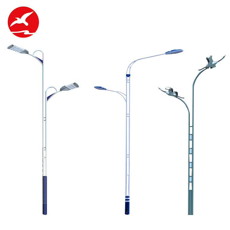 Hot Sale Round Bending 6M 8M 12M Pipa Baja Galvanis Single Double Lengan Outdoor Tiang Lampu Jalan