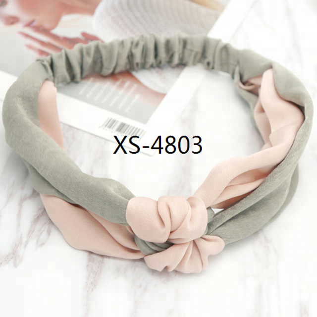 Wholesale Women Lady Fashion Luxury Retro Boho Cross Satin Hair Head Wrap Bow Knot Elastic Headband Bandana for girls