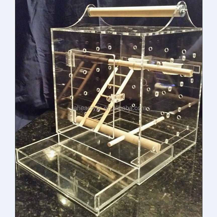 Factory direct sale clear square acrylic bird travel carrier parrot visit cage