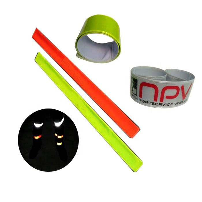 핫 잘 팔리는 custom made kids gift safety slap band bangle 형 반사 손목 snap bracelets (high) 저 (빛 pvc 리플렉스 팔찌