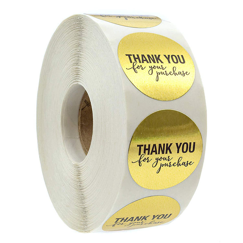 Hot sale Self Adhesive Paper custom round thank you label sticker roll