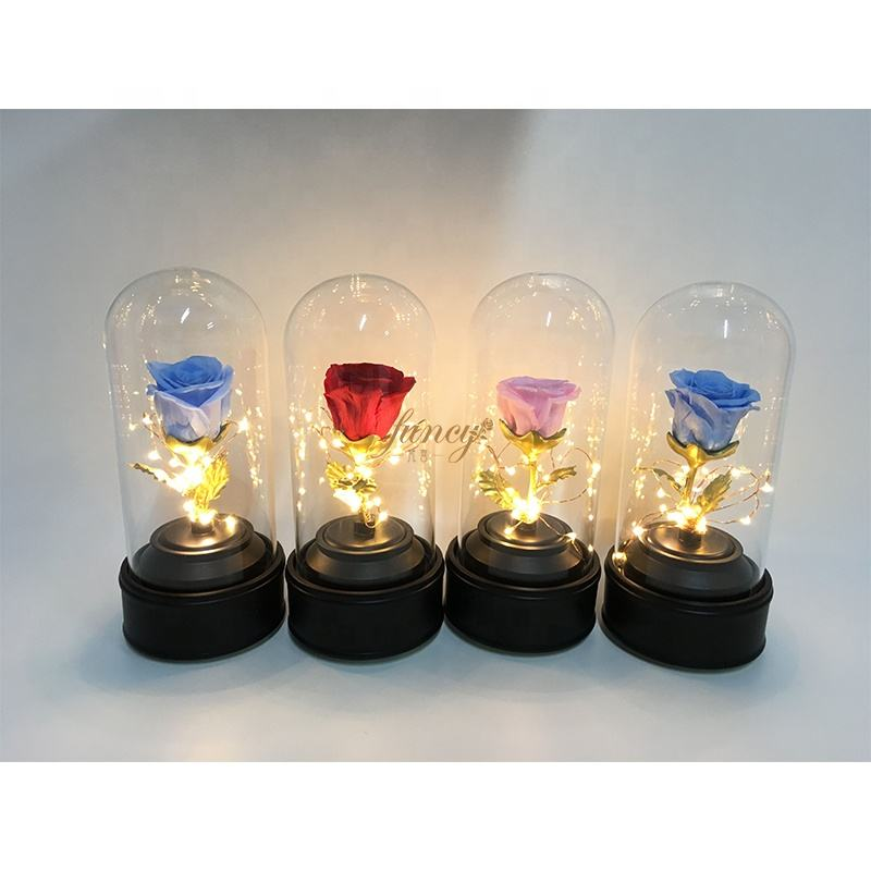 Roses Gold Display Stand LED Flower Craft Decorations Happy Valentine Glass Rose