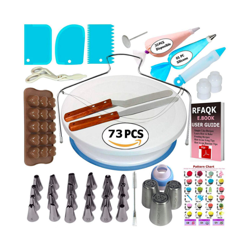Amazon heet verkoop 34/42/73/80/124 pcs cake decorating roterende cake stand draaitafel kit bakken tools met icing piping tips set