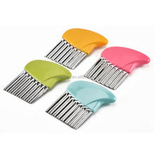 2019 New Crinkle Cutting Tool French Fry Slicer Potato Cutter Fruit Vegetable Wavy Chopper Knife Stainless Steel Random Color
