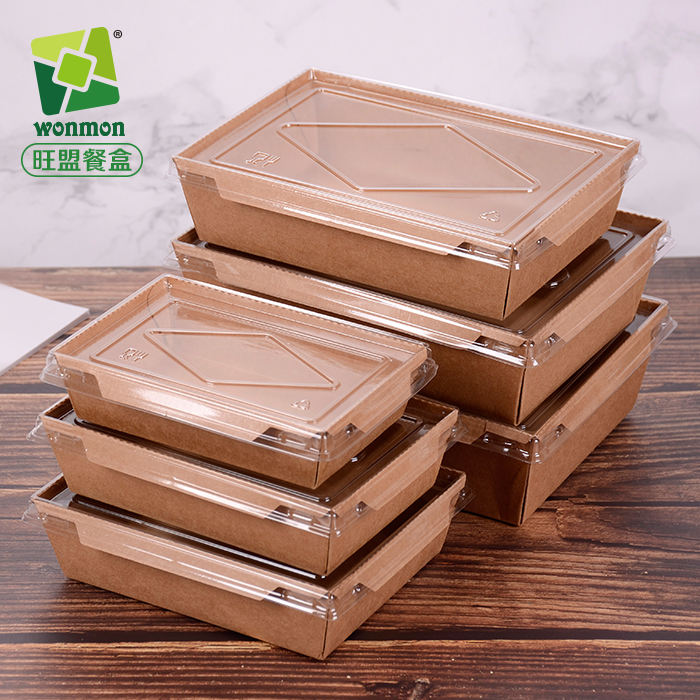 New Design kraft paper take away food packaging box with transparent lids