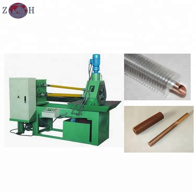 Bimetallic fin tube machine for high fin tubes in heat exchanging industry
