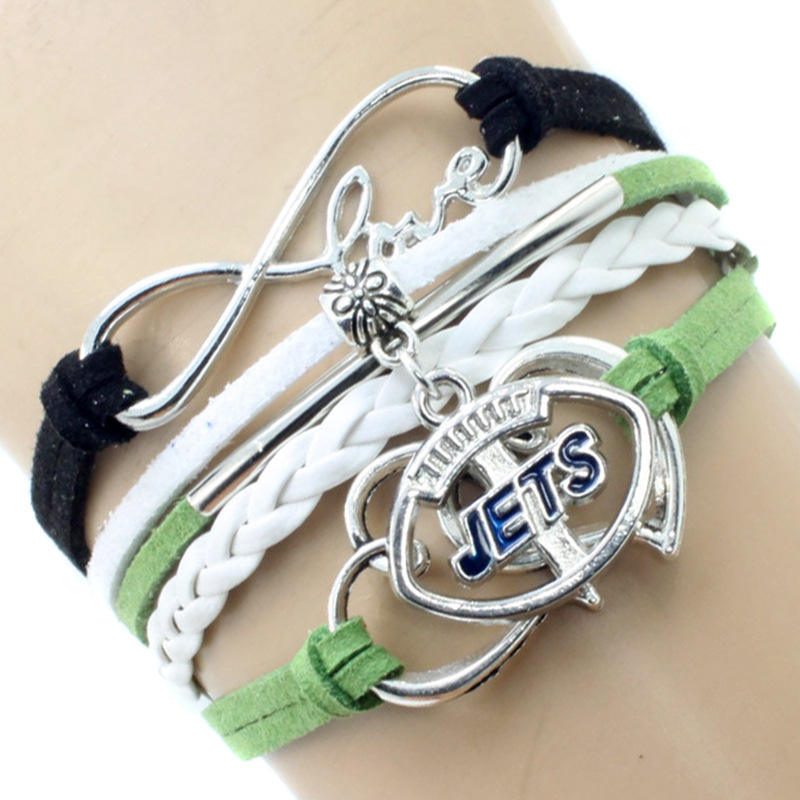 2019 alloy nfl teams logo woven leather love charm embossed zinc alloy bracelet