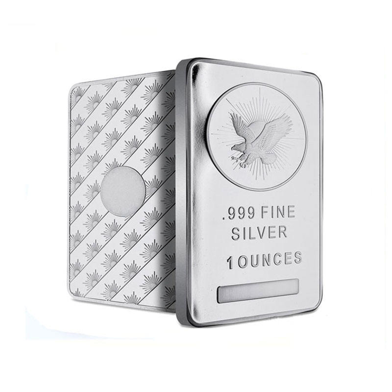 Custom business gift brass metal embossed eagle silver plating bullion 10 ounces ag999 1oz pure fine gold bar bullion