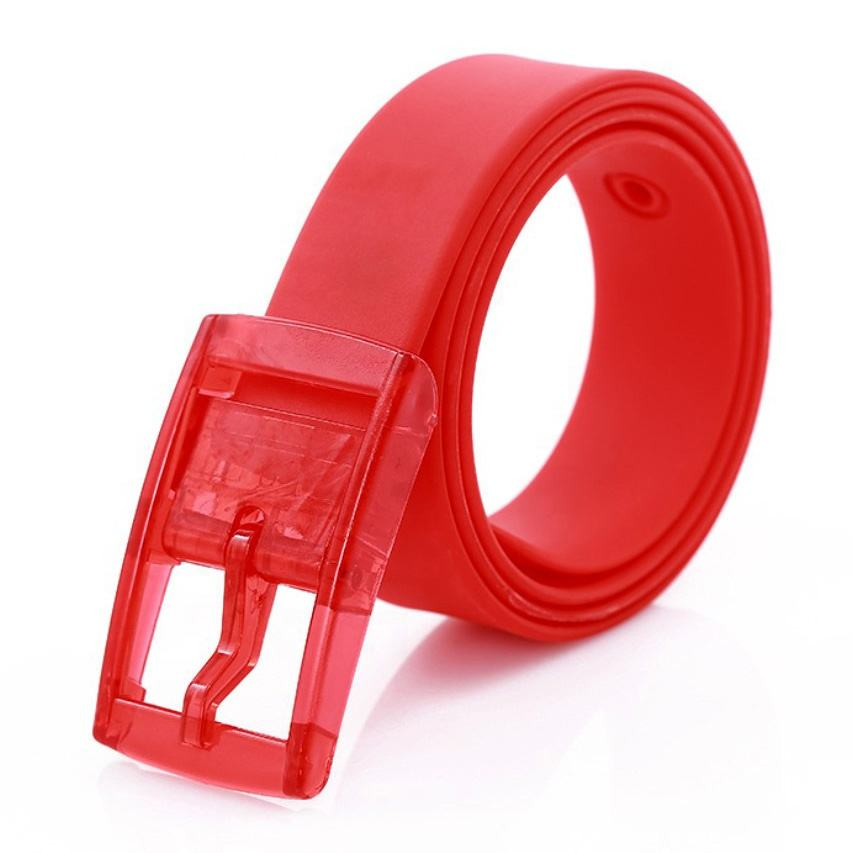 Extra Long Unisex Colorful Rubber Custom Logo Adjustable Golf Plastic Buckle Silicone Waist Belt