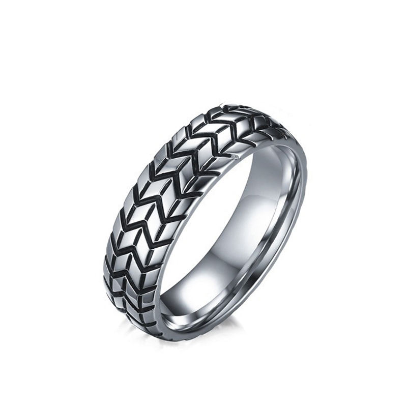 YWMT 2019 Wholesale Vintage 6mm Tire Shape Silver Stainless Steel Ring For Men