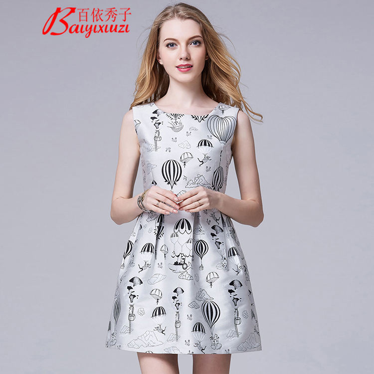 New Women's O-Neck Floral Jacquard Fit Dress And Ball Gown Dress Stone Beaded Neck Dress