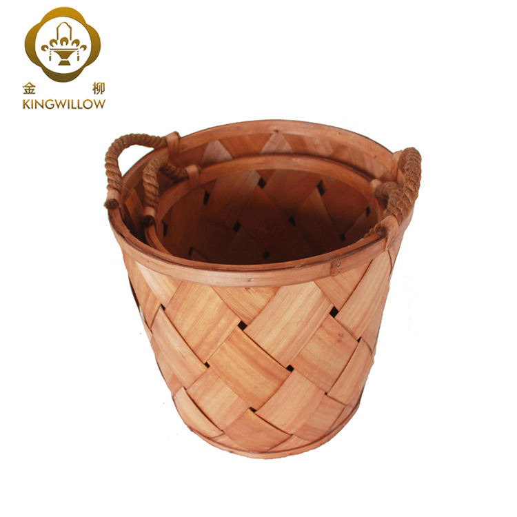 KINGWILLOW wooden basket handmade craft for laundry storage