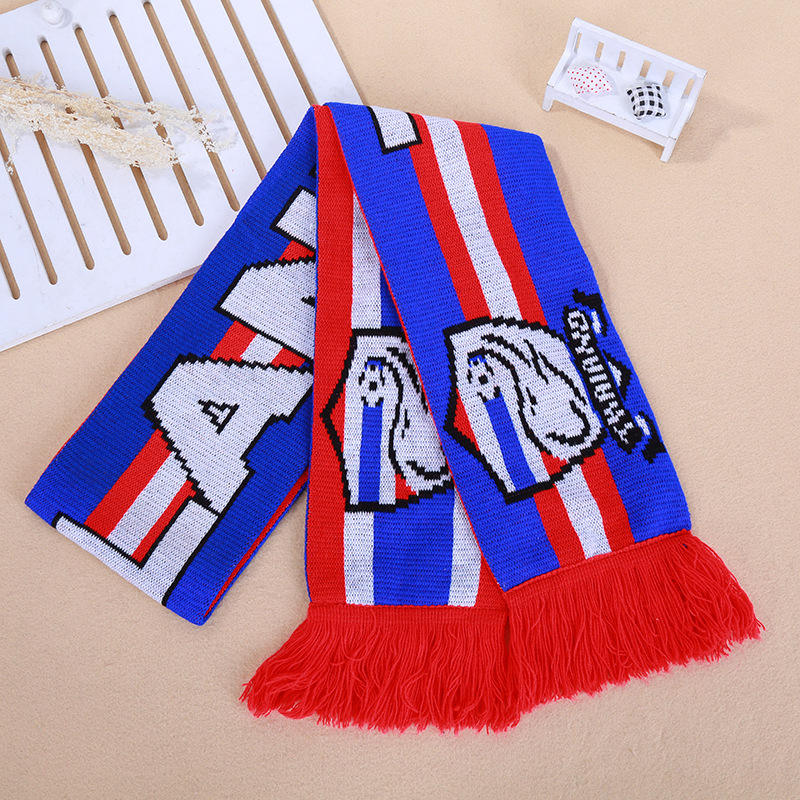 custom 100% Acrylic Aduilt red blue Strips Knitting Scarf with Tassels