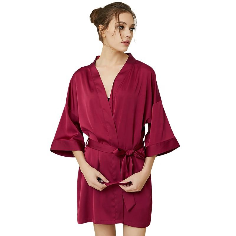 Production processing manufacture spring summer autumn fashion casual sexy sleepwear satin nightgown bath robe women