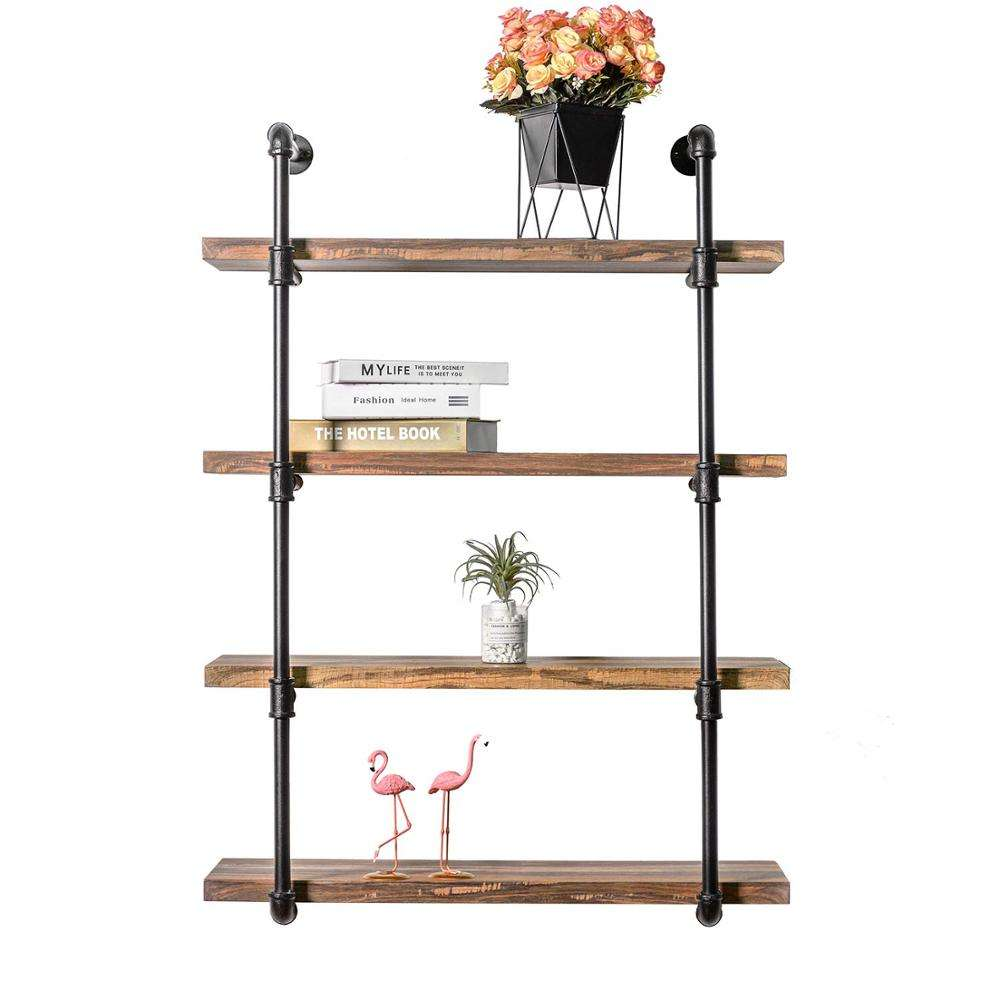 Antique Wall Shelf 4-Tier Pipe Shelf Wood and Metal Frame,Vintage Industrial Shelving for home,Living Room Rustic Wall Decor