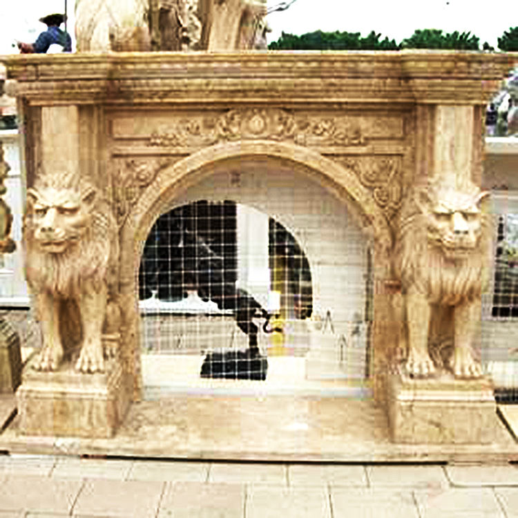 The Best and Cheapest carving fireplace mantle mantel surround carved lion-fireplace travertine mantels