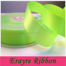 Polyester Double Face Wholesale 1.6CM Neon Yellow Satin Ribbon