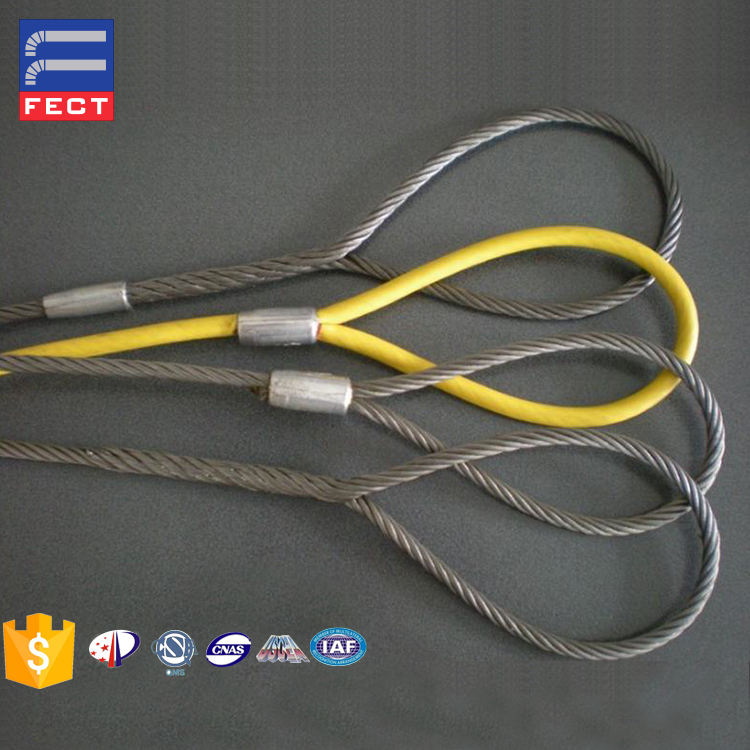 Handing Woven 6mm PVC Coated Galvanized Steel Wire Cable Rope Sling For Japan