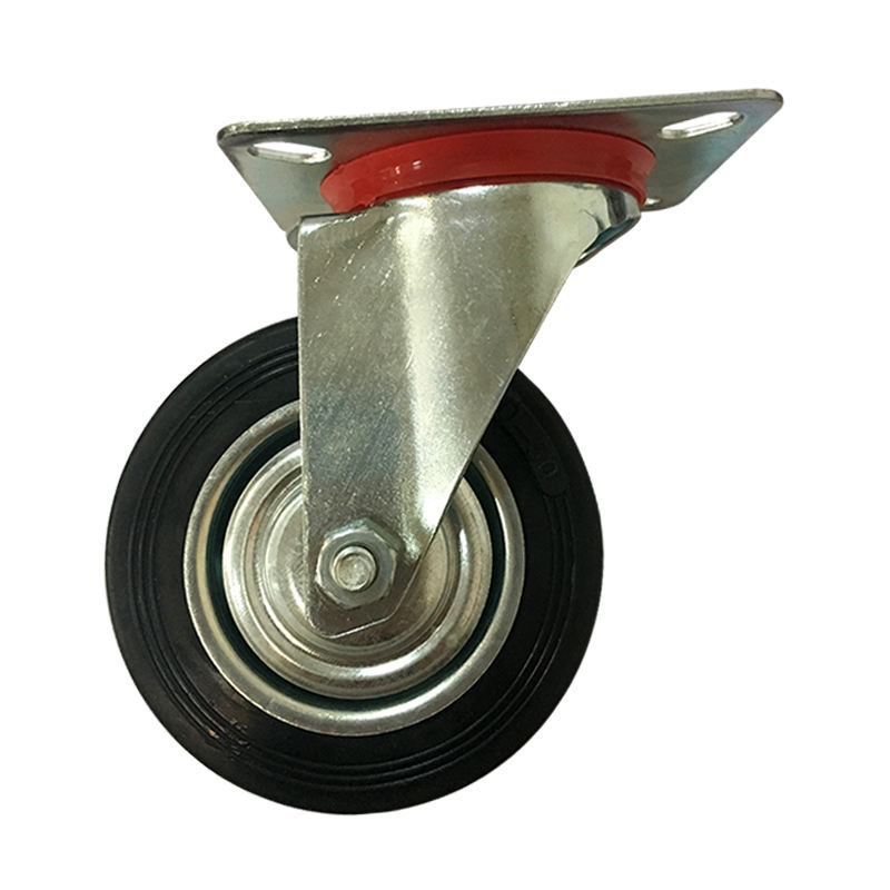 Hot sale high quality heavy duty black caster rubber wheels with Steel Core
