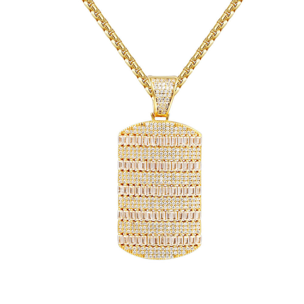 Iced out bling bling baguette pendant dog tag pendant
