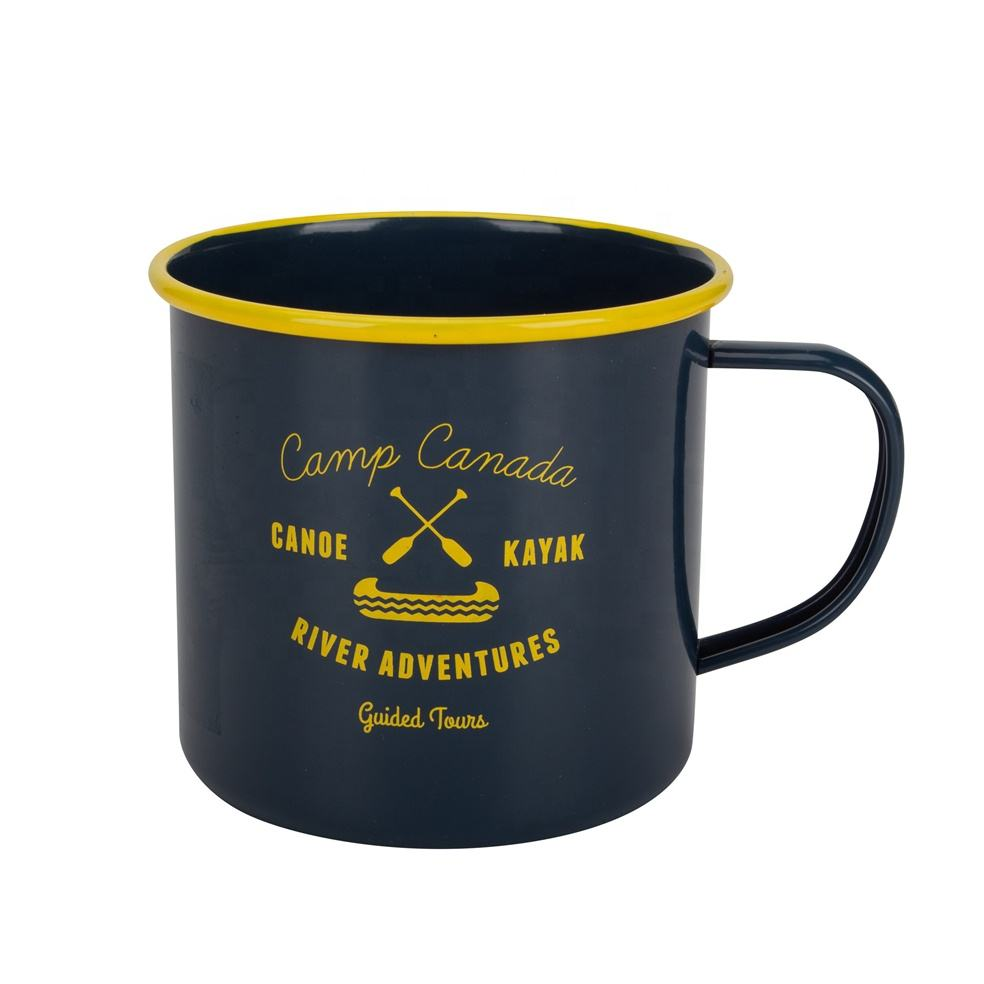 Metal Cup Mugs Cups Yellow Blue Black China Factory Supplier Cheap Logo Printed Custom Enamel Metal Camping Coffee Tea Mug Cup With Custom Logo
