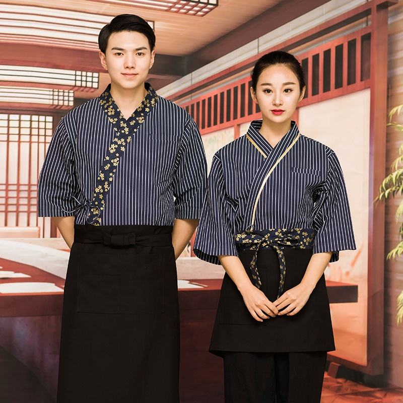100% cotton uniform for Japanese restaurant waiter / waitress uniform sushi bar classic uniform design
