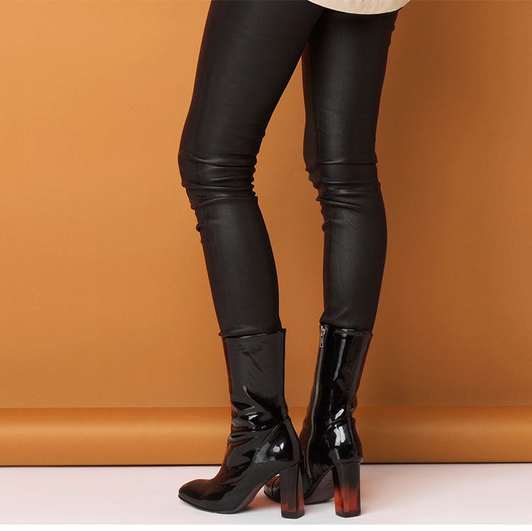Custom black genuine leather girls pants