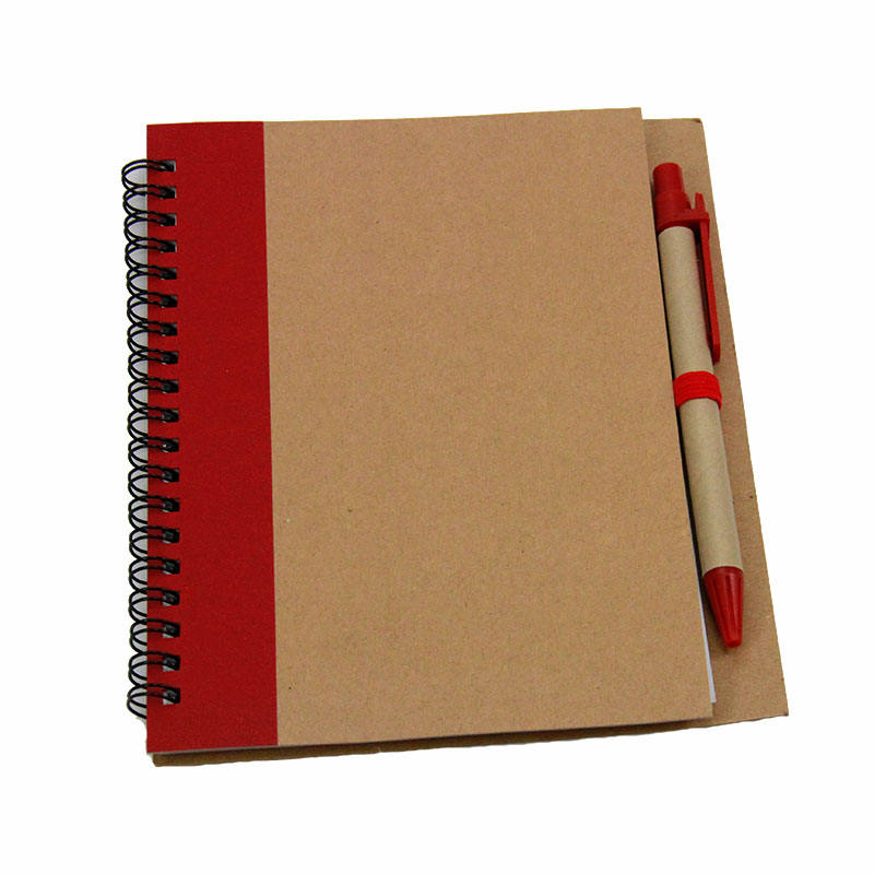 Custom Size paper material cover Spiral Recycled Notebook With Pen