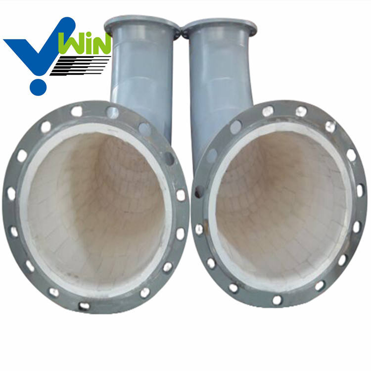 Ceramic lined elbow stainless steel pipe alumina ceramic lined pipe ceramic pipe