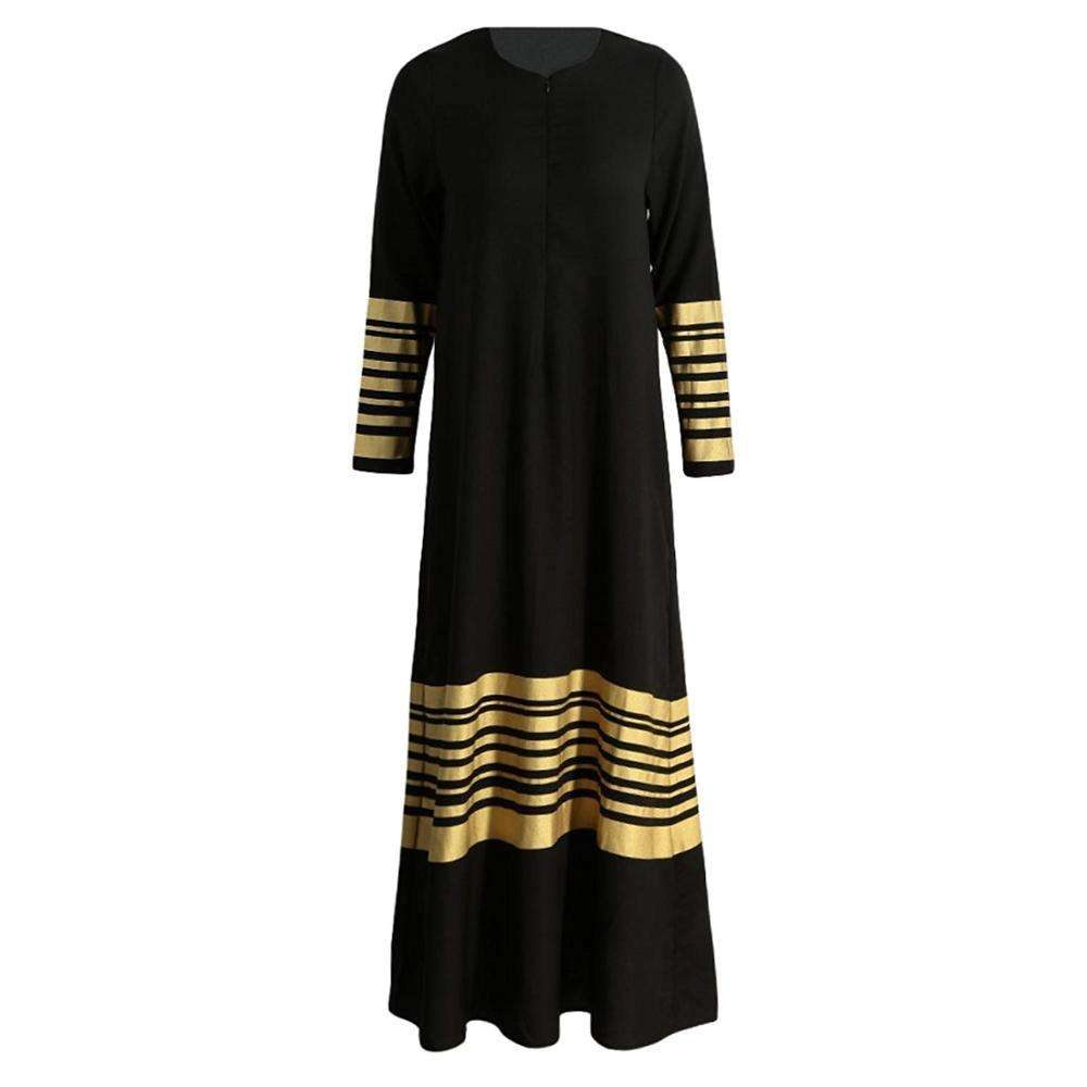 Women Muslim Maxi Dress Stripes Long Sleeves Abaya Kaftan Islamic Robe Long Dress Orange/Black/Dark Blue YLDRM002D
