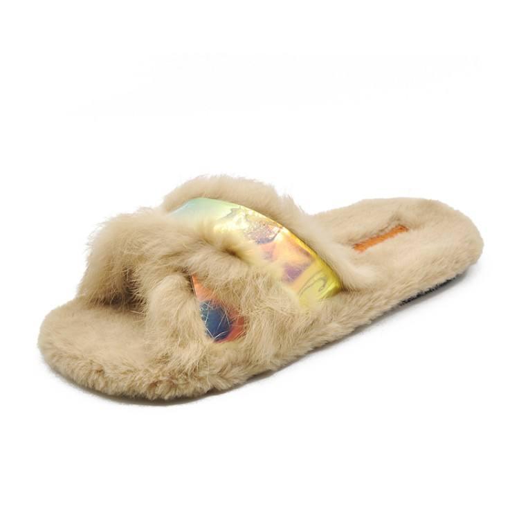 YYFURR Girls Plush Faux Fur Slide Slipper Sandal with Soft Furry Faux Raccon Fur Lovely House Outdoor Slippers for Girls