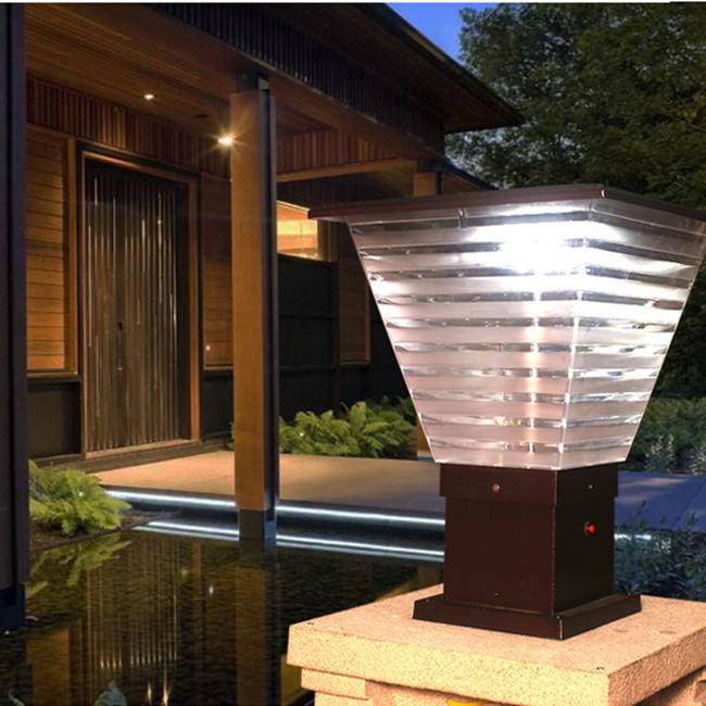 Courtyard villa community IP65 waterproof garden led solar gate pillar light outdoor