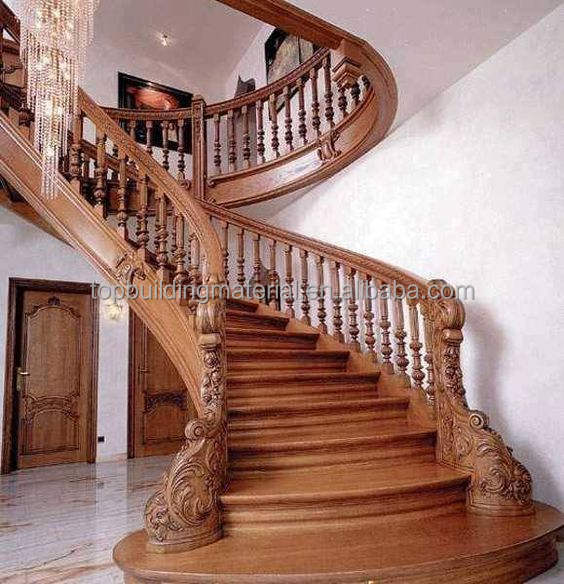Exquisite Carving Wood Stairs Arc Wood Stairs