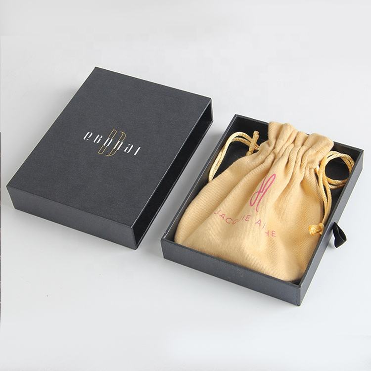 150 gsm luxury gift paper jewelry packaging box with cloth bag