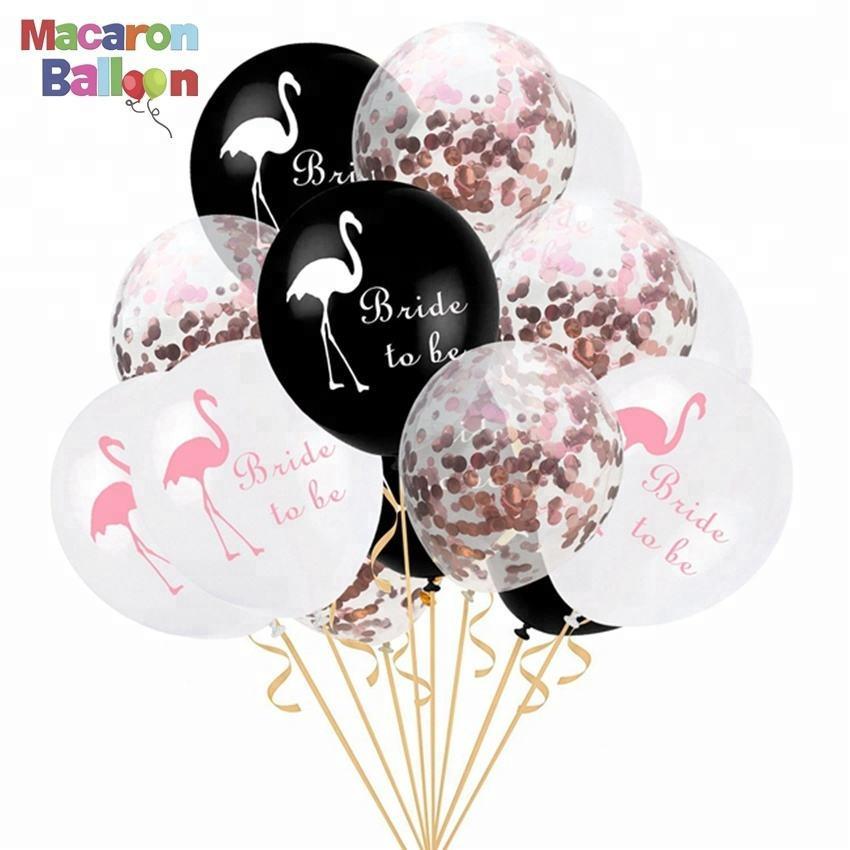 12inch Confetti Air Balloons Flamingo Latex Balloons For Wedding Decoration KK339