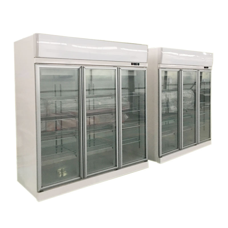Heavy duty commercial supermarket used 2 or 3 glass door refrigerators freezer equipment
