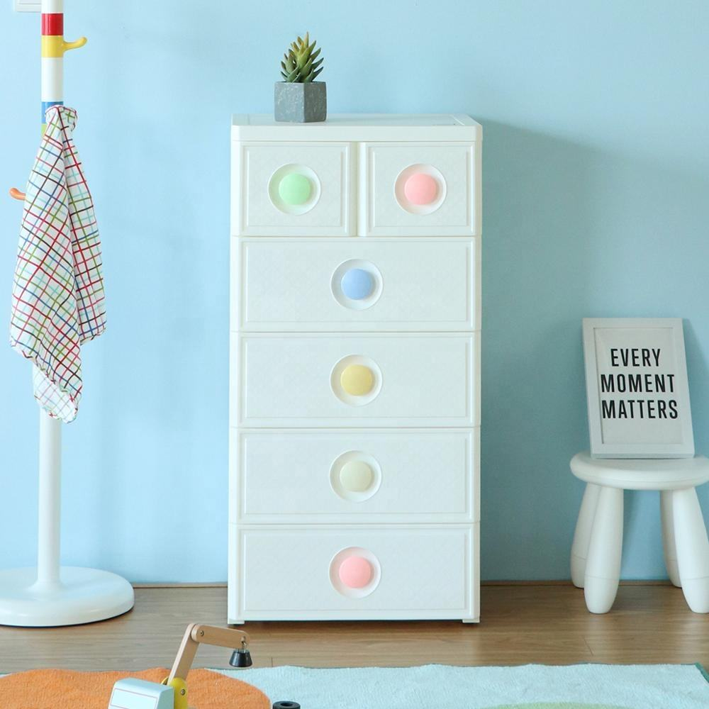 Elegant Multi-layer Storage Cabinet Plastic Drawer Baby cloth plastic cupboard with Lock& Wheels