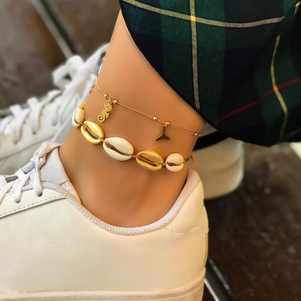 Sindlan New Arrivals Hot Summer 2 Layer Sea Beach Bohemian Natural Conch Woven Foot Jewelry Sea Shell Anklet