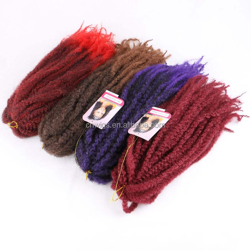 Wholesale 7 Colors Optional 100% Two Tone Afro Curly extensions crochet marley hair braid